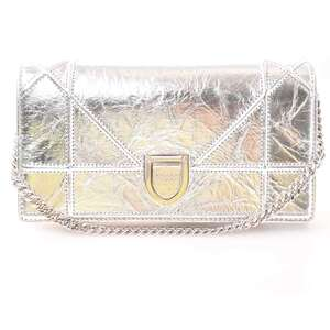 Christian Dior Diorama Leather Chain Wallet Silver