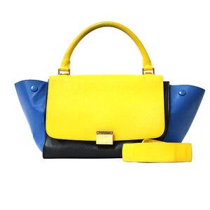 CELINE Celine Shoulder Bag Trapeze Handbag 2way White Black Ladies