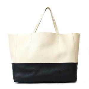 CELINE Celine Shoulder Bag Cover Horizontal Tote 2way White Black Ladies