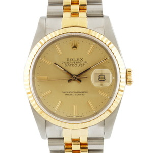 ROLE Rolex Stainless Steel K18 Yellow Gold Watch Oyster Perpetual L Number Datejust 16233 Men's