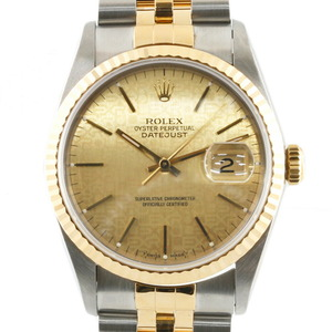 ROLE Rolex Stainless Steel K18 Yellow Gold Watch Oyster Perpetual Holicon W No. Datejust 16233 Men's