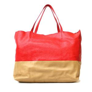 CELINE Celine Shoulder Bag Cover Horizontal Tote 2way Red Beige Ladies