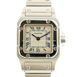 CARTIER Cartier Stainless Steel Watch Santos Galve SM White Ladies
