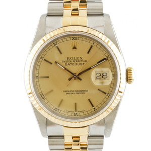ROLE Rolex Stainless Steel K18 Yellow Gold Watch Oyster Perpetual R Number Datejust 16233 Men's