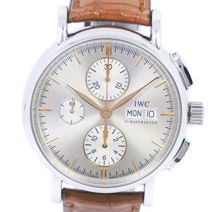 IWC IW Sea Schaffhausen Portofino IW378302 Stainless Steel Leather Self-winding Men's Silver Dial Watch