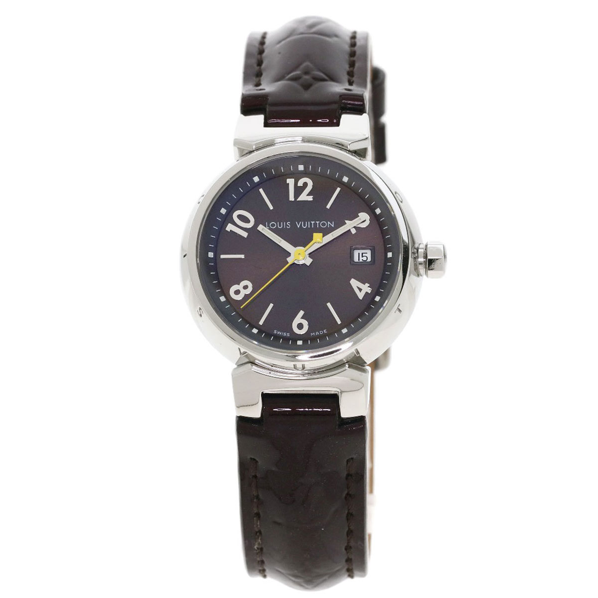 Louis Vuitton Q1211 Tambour Watch Stainless Steel Leather Ladies
