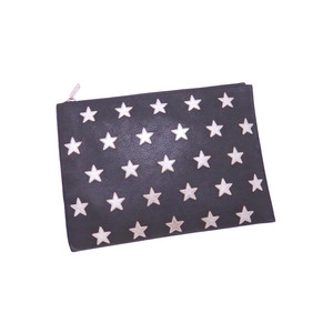 Saint Laurent Clutch Bag Star Black Silver Leather Hardware Women's Men's