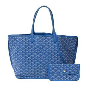 GOYARD Goyard Shoulder Bag Tote Anju PM Blue Ladies PVC Coated Canvas Calf