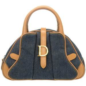 Christian Dior Denim Leather Handbag Indigo Blue