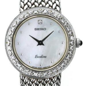 セイコー SEIKO エクセリーヌ ダイヤベゼル 4N20-0390 クオーツ ホワイトシェル 文字盤 レディース 時計