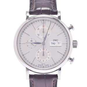 IWC SCHAFFHAUSEN Schaffhausen Portofino Chrono IW391007 Men's Stainless Steel Leather Watch Automatic Silver Dial