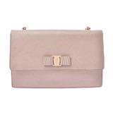 Salvatore Ferragamo Vala Chain Shoulder Pink Beige Gold Hardware Ladies Calf Bag