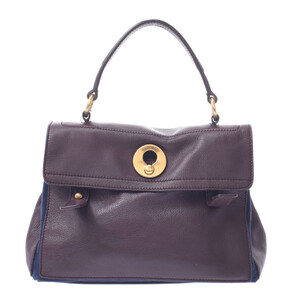 SAINT LAURENT Muse toe 2WAY bag Bordeaux navy ladies calf canvas handbag