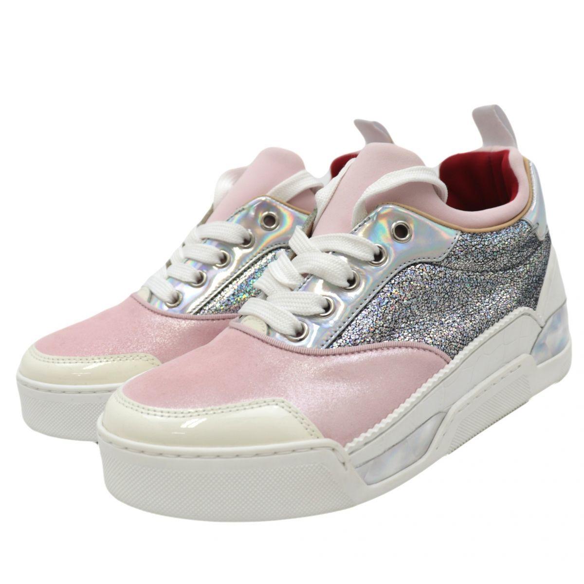 Christian Louboutin Aurelien Hologram Glitter Sneakers Women's Pink Silver 35