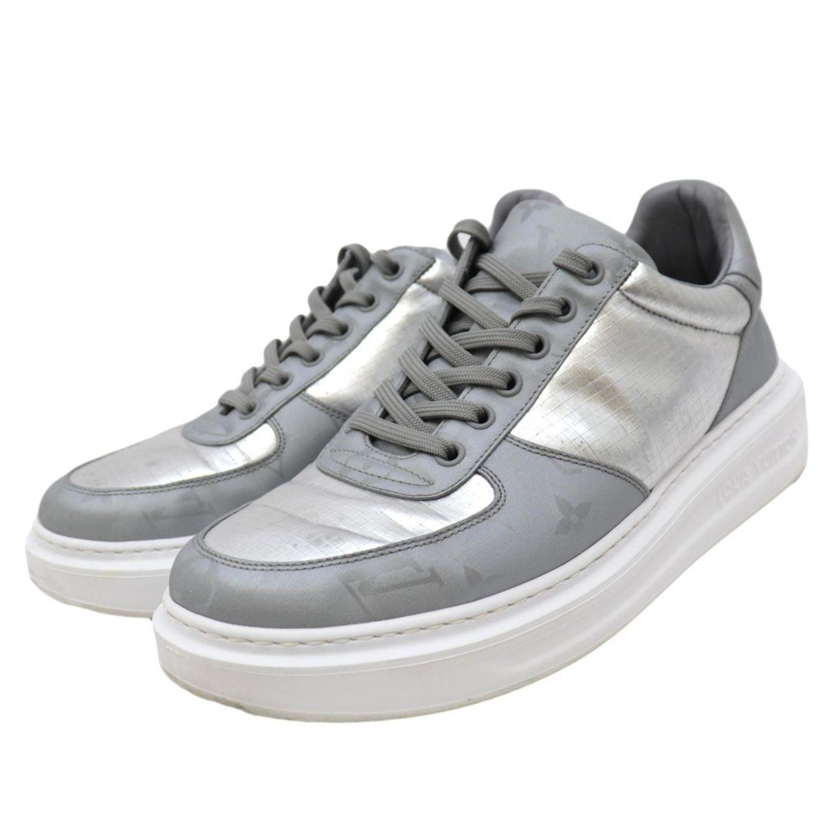 Louis Vuitton 18 Years Monogram Metallic Leather Sneakers Mens Silver 5.5 Low Cut