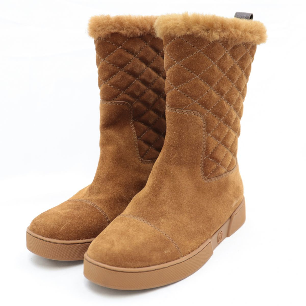 Louis Vuitton 16AW Monogram Mouton Boots Women's Camel 34 Suede Leather Quilting