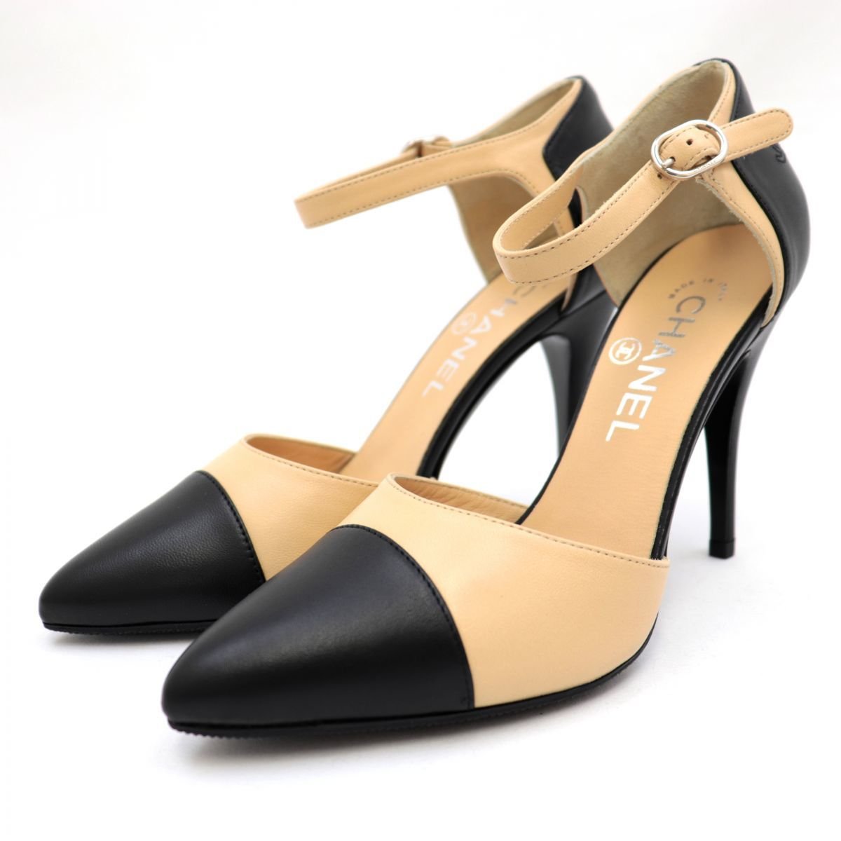 Chanel 13S Ankle Strap Leather Heel Pumps Women's Beige Black 36.5 Coco Mark Stitch Pointed Toe Separate Bicolor