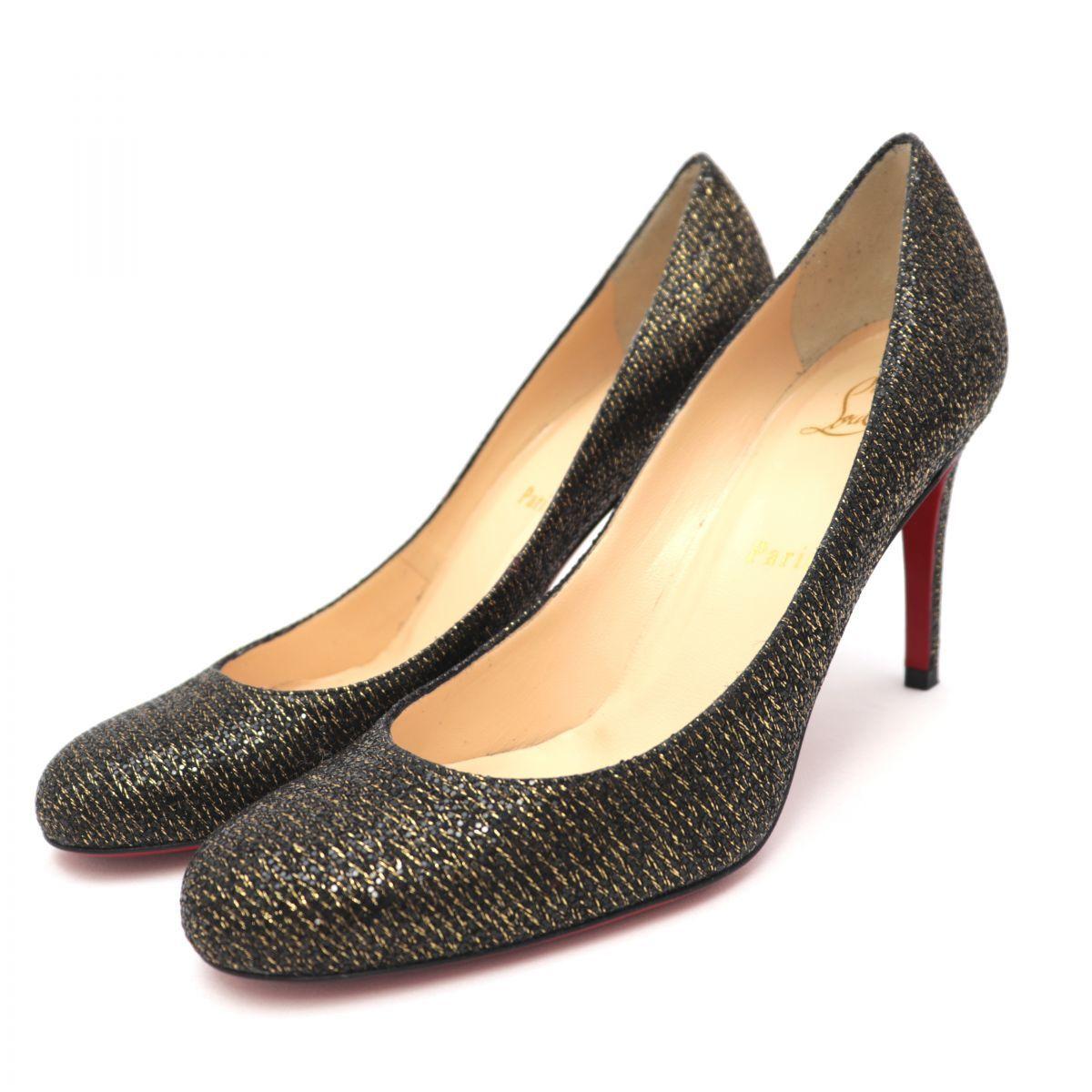 Christian Louboutin MISS GENA 85 LADY GLITTER Glitter Heel Pumps Women's Black 37
