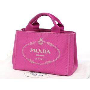 プラダ(Prada) PRADA プラダ カナパトート ミニ ハンドバッグ キャンバス ピンク ロゴ