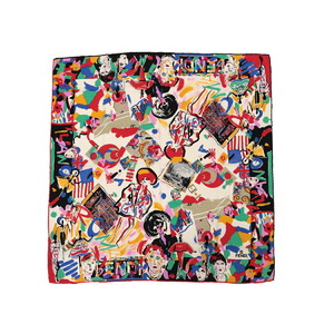 フェンディ(Fendi) FENDI フェンディ POP柄 カラフル 大判スカーフ シルク マルチカラー