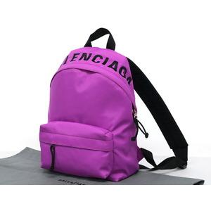 BALENCIAGA logo wheel rucksack backpack nylon purple black