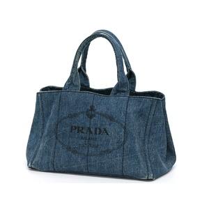 プラダ(Prada) PRADA プラダ カナパトート ロゴ ハンドバッグ デニム ネイビー レディース