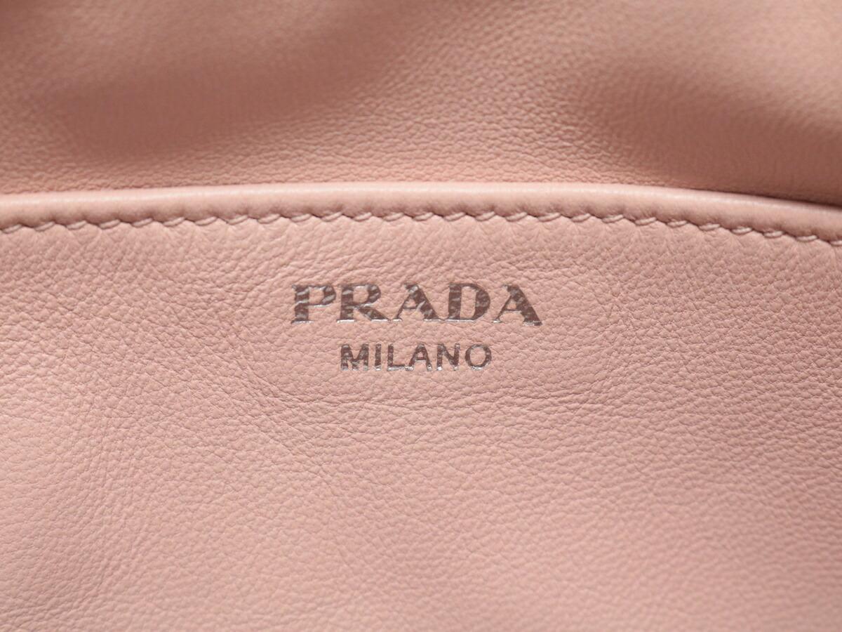 プラダ(Prada) PRADA プラダ ロゴ 2way ハンドバッグ ショルダーバッグ レザー ピンク レディース