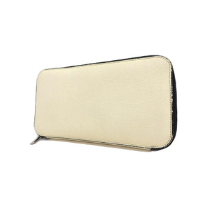 Valextra Round Zipper Wallet Leather White Long