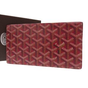 GOYARD Goyard herringbone pattern bi-fold wallet coated canvas red