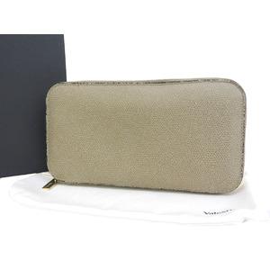 Valextra Round Zipper Wallet Embossed Leather Greige
