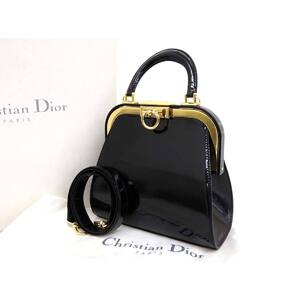 Christian Dior Vintage Ladies 2Way Handbag Shoulder Bag Enamel Black