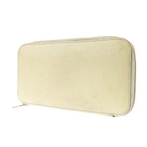 Valextra Round Zipper Wallet Leather Ivory