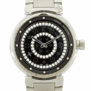 LOUIS VUITTON Louis Vuitton Watch Bezel Diamond Monogram 100m Tambour Diamon GM Q111C Silver Brown Men's Stainless Steel