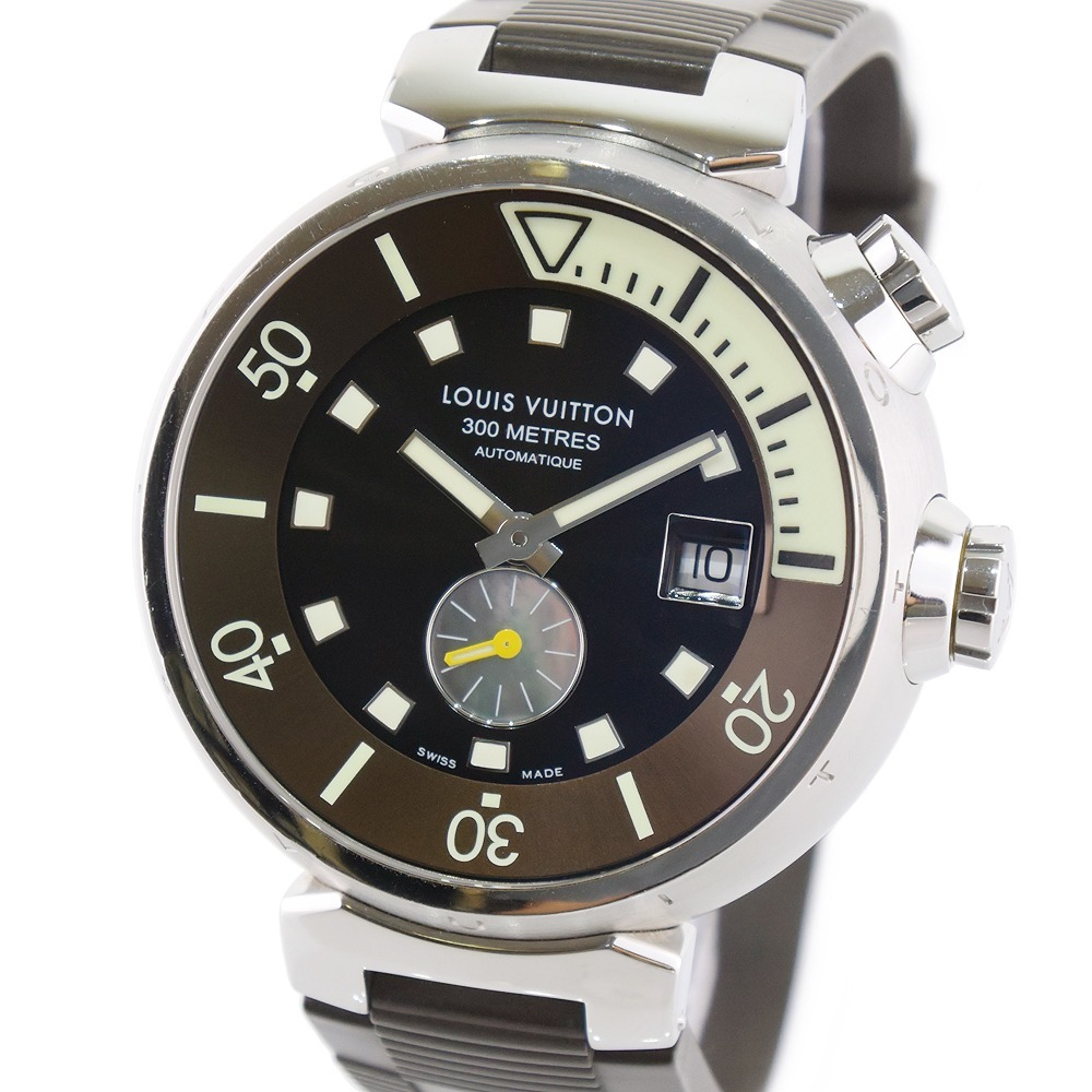 LOUIS VUITTON Tambour Diving 300M Smoseco Q1031 Stainless Steel Rubber Brown Self-winding Men's Dial Watch