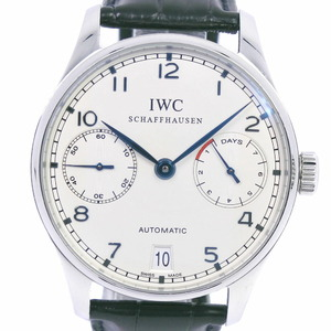 IWC IW Sea Schaffhausen Portugieser 7DAYS cal.51011 IW500107 Stainless Steel Leather Self-winding Men's Silver Dial Watch