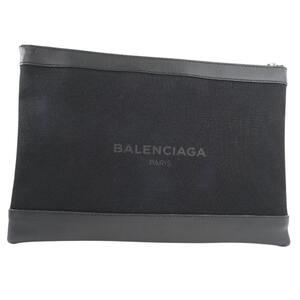 BALENCIAGA Navy Clip Second Bag 373840 Canvas Black Men's Clutch