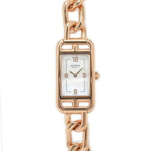 Hermes Nantucket Mini Pink Gold Silver Oparin Dial NA2.170 Watch