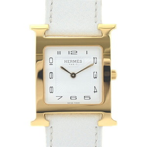 Hermes H Watch Boys White Dial Sunbeam Stainless Steel Epson Quartz HH1.501