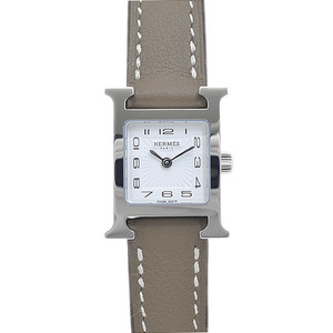Hermes H Watch Mini Ladies White Dial Sunbeam Stainless Steel Vaux Swift Quartz HH1.110
