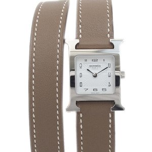 Hermes H Watch Ladies Double Tour Stainless Steel Swift Quartz HH1.210