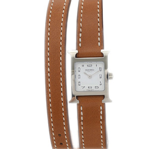 Hermes H Watch Mini Ladies Double Tour White Dial Stainless Steel Quartz HH1.110