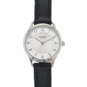 Hermes Slim Due Ladies Silver Dial Stainless Steel Leather Quartz CA2.110 Watch