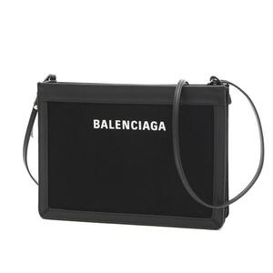 Balenciaga Navy Pochette Shoulder Bag Canvas Leather Black 339937
