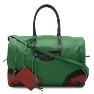 BALENCIAGA Handbag 2WAY Shoulder Bag Leather Suede Enamel Green Red 286339