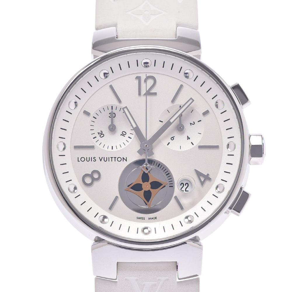 LOUIS VUITTON Louis Vuitton Tambour MoonStar MM Q8G00 Boys Stainless Steel Rubber Watch Quartz White Dial