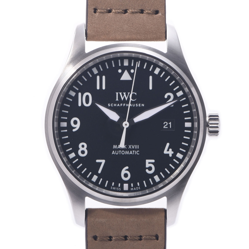 IWC SCHAFFHAUSEN Pilot's Watch Mark 18 Men's Stainless Steel Leather Automatic Black Dial