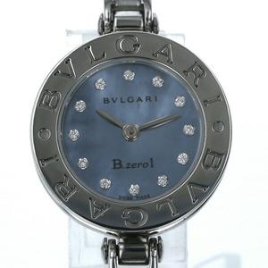 ブルガリ BVLGARI B-zero1 12Pダイヤ クオーツ ブルーシェル文字盤 バングル レディース 腕時計