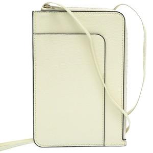 Valextra Pochette Shoulder Bag Phone Case Leather Off White