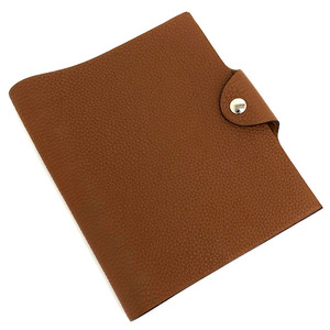 Hermes notebook cover Uris PM Togo brown silver metal fittings ladies