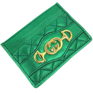 Gucci Pass Case Zumi Boutique Line Quilting Metallic 536354 Leather Green Ladies